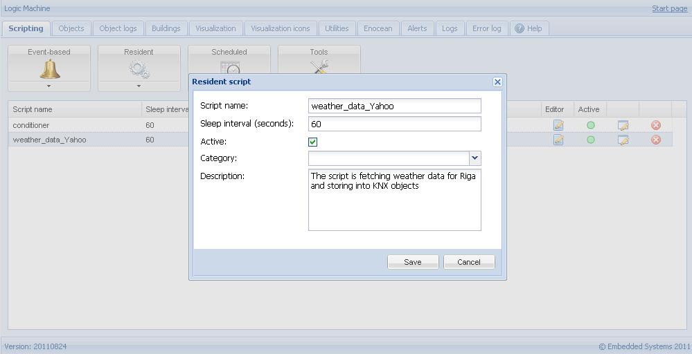 Yahoo weather resident script logic machine